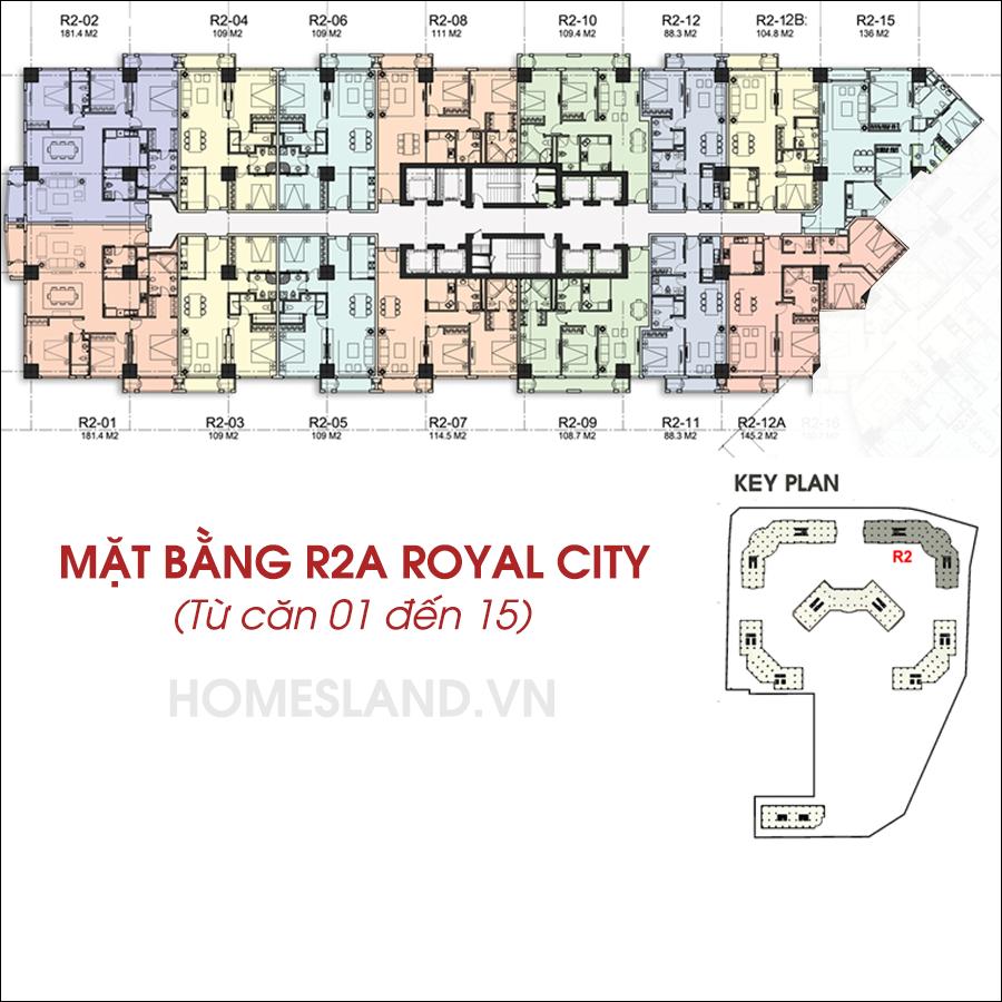 Mặt bằng R2A Royal City từ căn 01 đến 15.