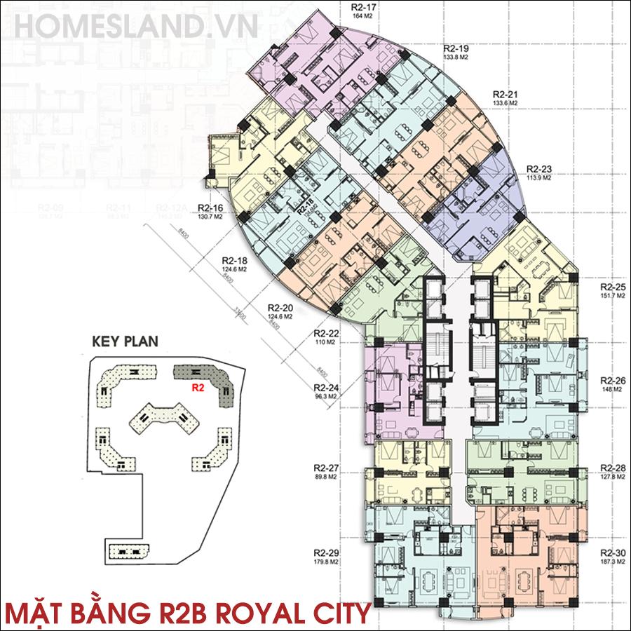 Mặt bằng sảnh B toà R2 Royal City từ căn 16 đến 30.