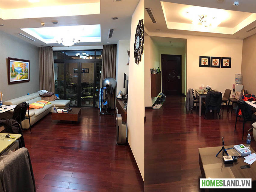 Không gian phòng khách căn hộ Royal City R2 90m2 đủ đồ