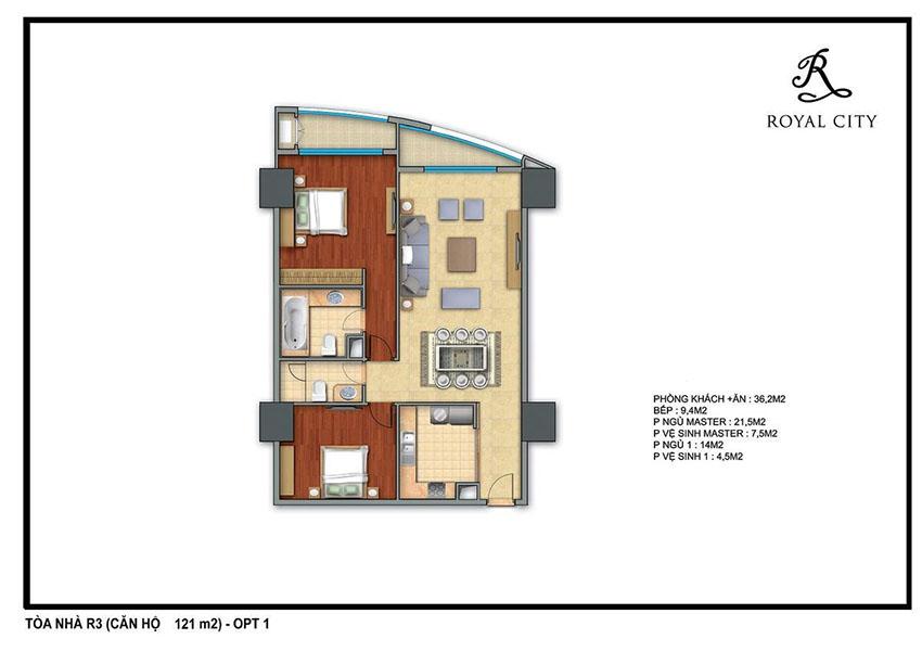 Mặt bằng căn hộ 121m2 toà R3 Royal City