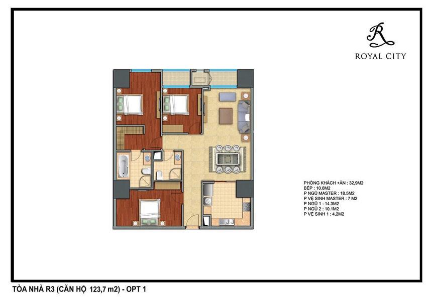 Mặt bằng căn hộ 123.7m2 toà R3 Royal City