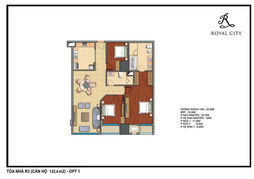 Mặt bằng căn hộ 132.4m2 toà R3 Royal City