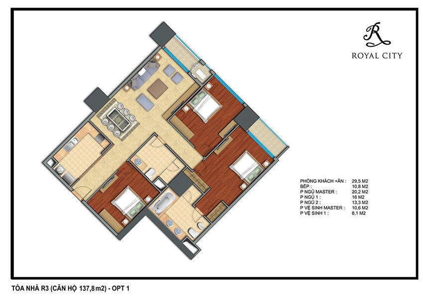 Mặt bằng căn hộ 137.8m2 toà R3 Royal City