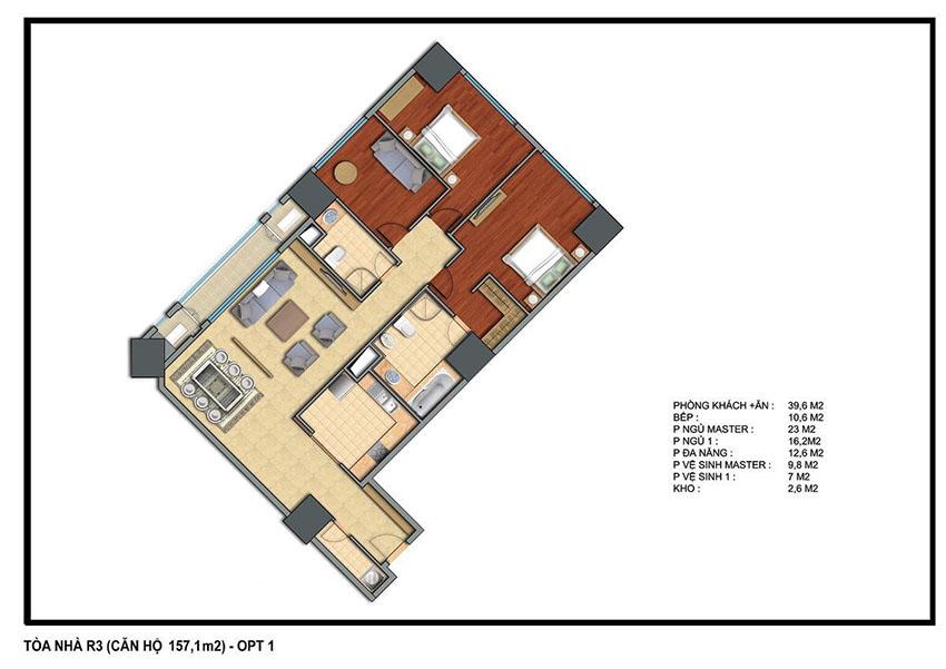 Mặt bằng căn hộ 157.1m2 toà R3 Royal City