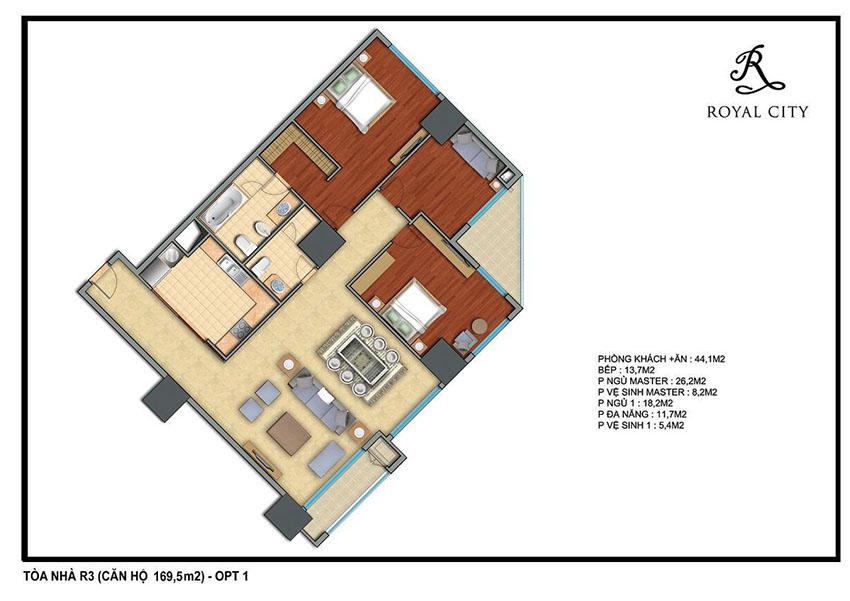 Mặt bằng căn hộ 169.5m2 toà R3 Royal City