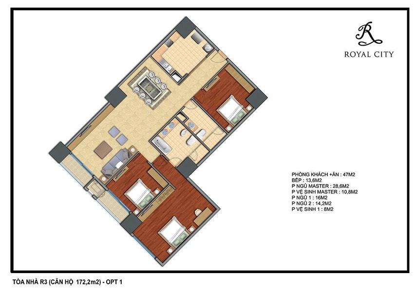 Mặt bằng căn hộ 172.2m2 toà R3 Royal City