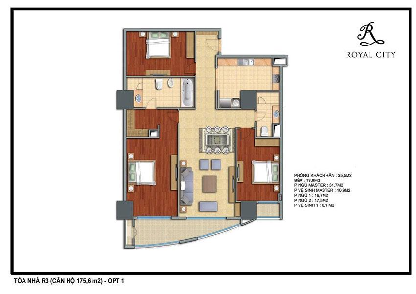 Mặt bằng căn hộ 175.6m2 toà R3 Royal City
