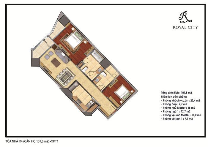 mặt bằng thiết kế căn 101.8m2 toà R4
