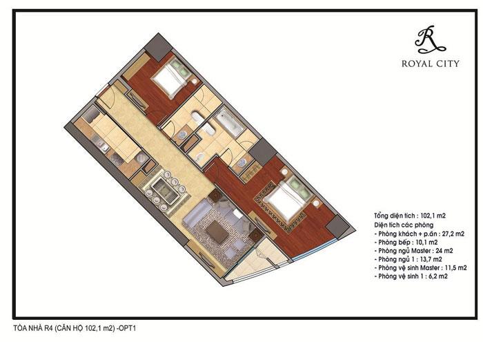 mặt bằng căn hộ 10m2 toà R5 Royal City
