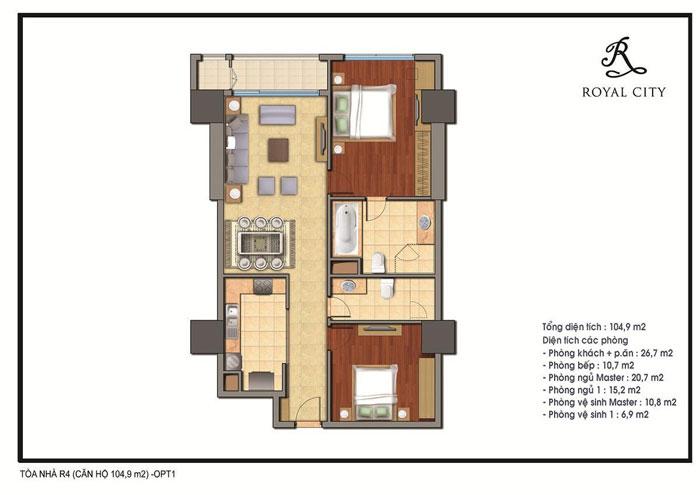 mặt bằng căn hộ 104.9m2 toà r4