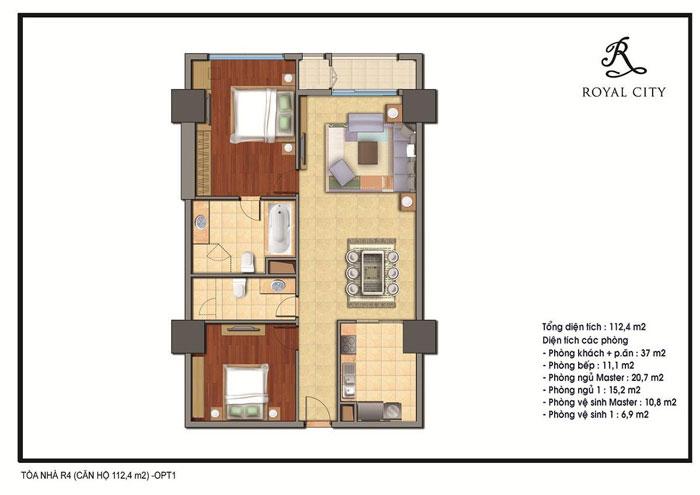 mặt bằng căn hộ 112.4m2 toà R4