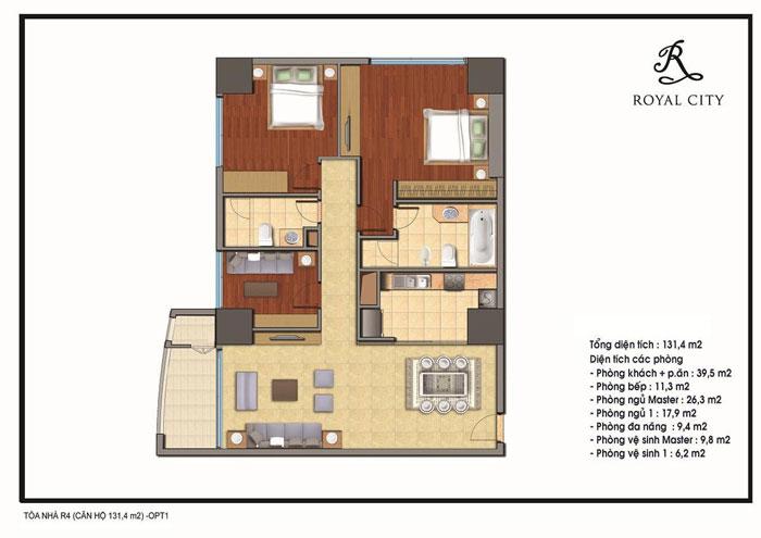 mặt bằng căn hộ 131.4m2 toà R4