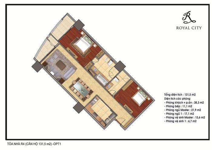 mặt bằng căn hộ 131.5m2 toà R4