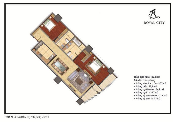 mặt bằng căn hộ 132.8m2 toà r4