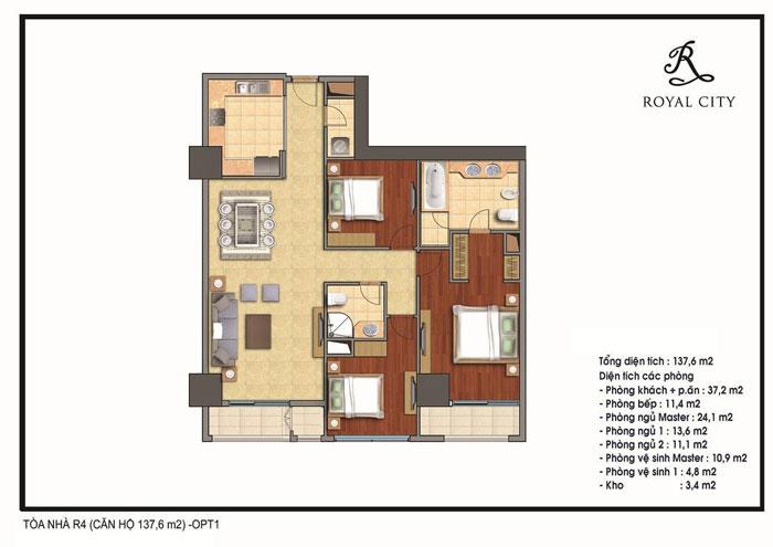 mặt bằng căn hộ 137.6m2 toà R4