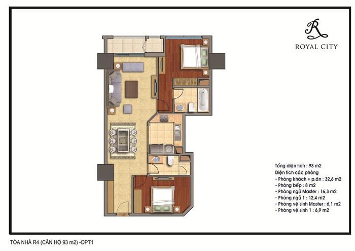 mặt bằng căn hộ 93m2 toà r4