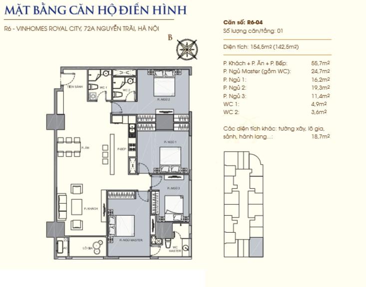 Mặt bằng căn hộ 04 (5A): 154.5m2 toà R6 Royal City.