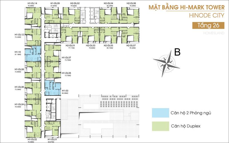 Mặt bằng tầng 26 toà Hi-Mark dự án Hinode City