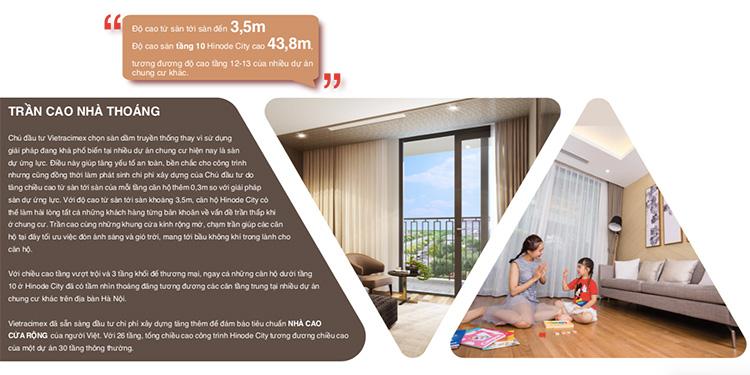 Trần căn hộ cao 3.5m tại Hinode City
