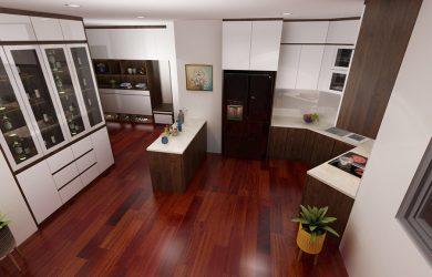 Không gian phòng khách và bếp căn hộ 3 ngủ 136m2 toà R1